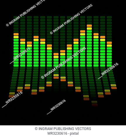 Graphic equalizer background with the chart reflected in the black surface