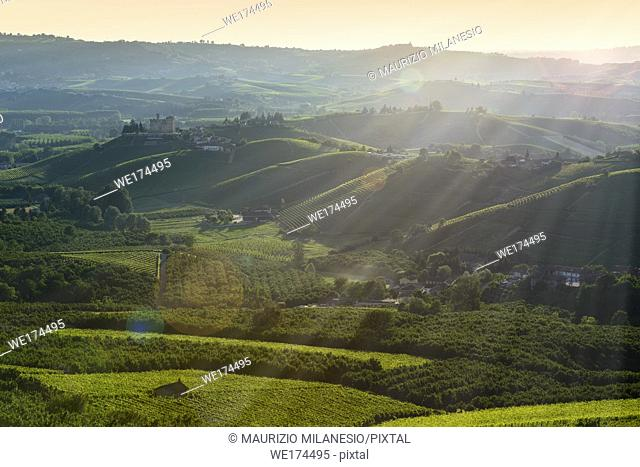 View on the langhe hills and castle of Grinzane cavour at Sunset, the sky is yellow and orange and some sunrays illuminate the Manor in backlight