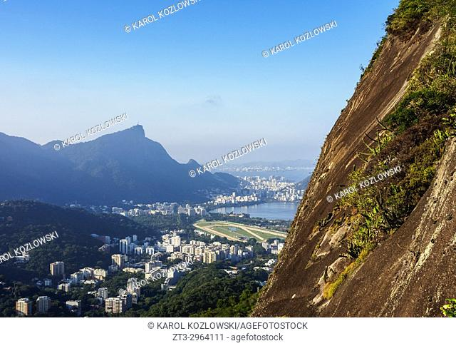 Corcovado Mountain seen from Dois Irmaos Mountain, Rio de Janeiro, Brazil