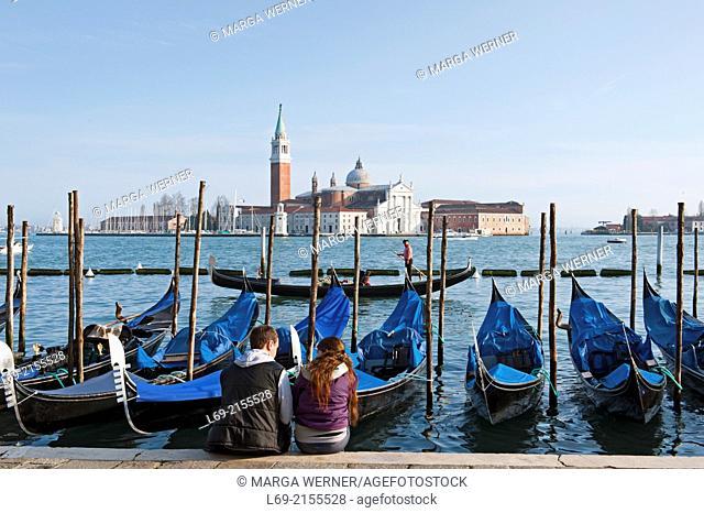 View from Pier San Marco at island San Giorgio Maggiore, Venice, Veneto, Italy,