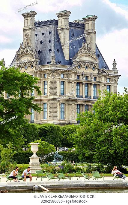 Louvre Museum from Tuileries Garden, Paris, France