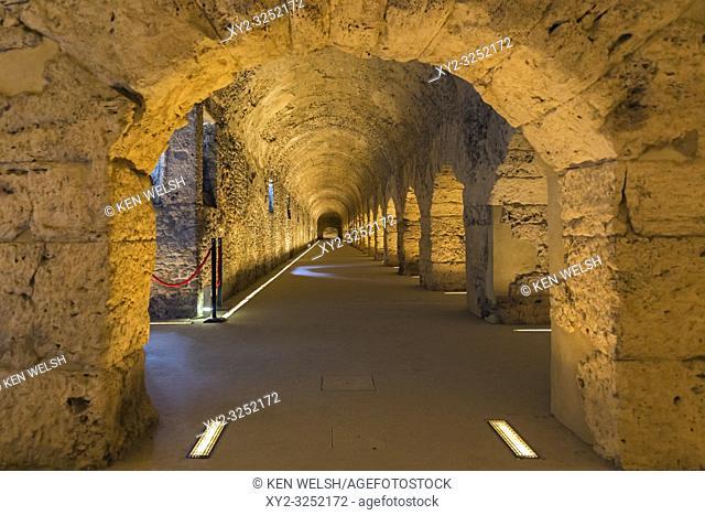 Aosta, Aosta Valley, Italy. The cryptoportico, or cryptoporticus dating from the Roman era when the town was known as Augusta Praetoria