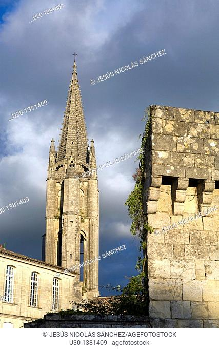 Belfry of Monolithe church, in Saint Emilion, town listed as World Heritage by UNESCO  Libourne district, Gironde department, Aquitania region  France