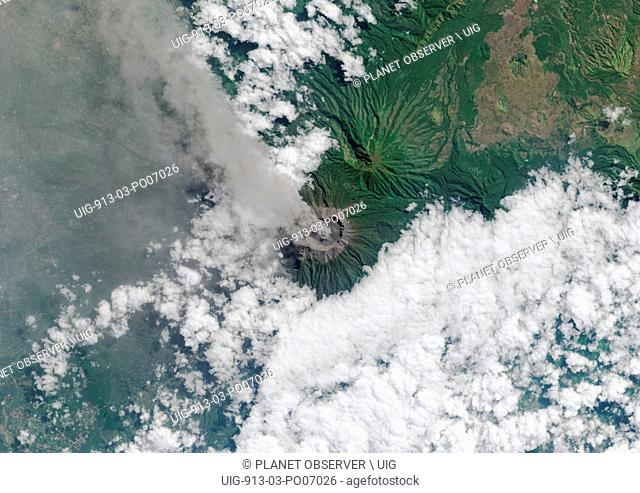 Satellite view of Mount Raung, one of the most active volcanoes on the island of Java in Indonesia. This image was taken on July 27, 2015 by Landsat 8 satellite