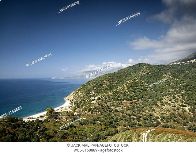 ionian mediterranean sea coast beach landscape of Southern Albania north of Sarande on road to Vlore