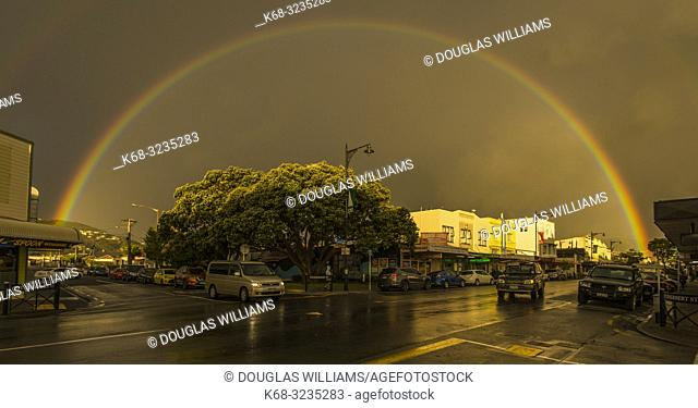 A rainbow over Petone, a suburb of Welllington, North Island, New Zealand