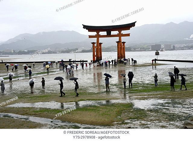 The famous torii gate of the Itsukushima Shrine on Miyajima island, Hiroshima, Japan, Asia