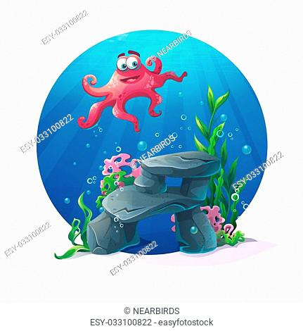 Beautiful octopus on rocks, coral and colorful reefs underwater. Vector illustration of sea landscape. For web design, print, cards, video games, posters