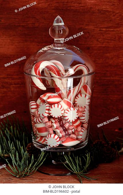 Peppermint candies in glass jar