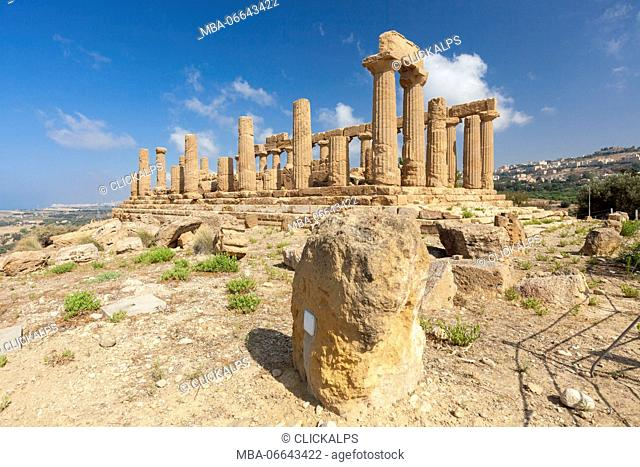 The Temple of Juno a Greek temple of the ancient city of Akragas located in the Valle dei Templi Agrigento Sicily Italy Europe