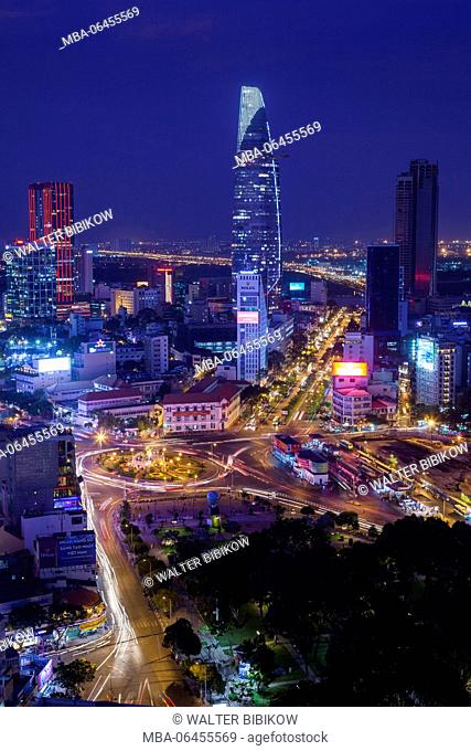 Vietnam, Ho Chi Minh City, elevated city view above Quach Thi Trang Circle, dusk