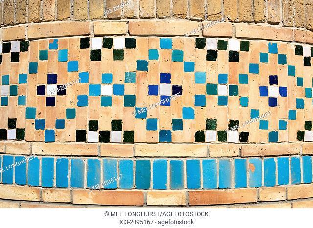 Ceramic tiles on Minaret at the Bolo Hauz Mosque, also known as Bolo Khauz Mosque, Bukhara, Uzbekistan