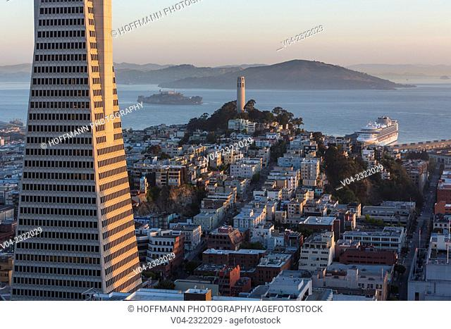 Transamerica Pyramid, Coit Tower and Alcatraz at sunrise, San Francisco, California, USA