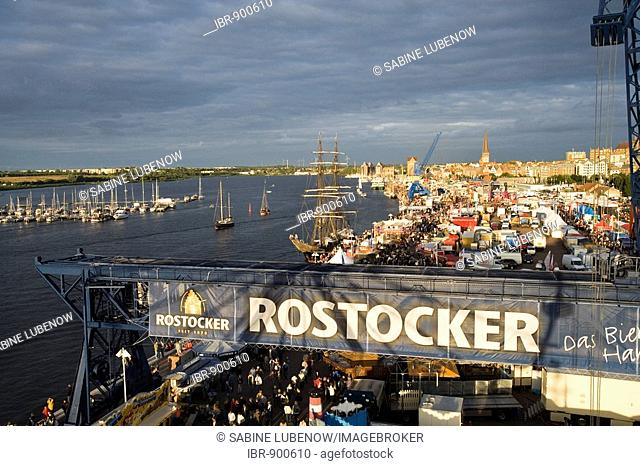 View from the ferris wheel over the Hanse Sail festival, city port on the Warnow River, Rostock, Mecklenburg-Western Pomerania, Germany, Europe