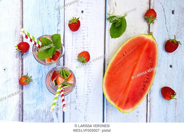 Detox water, infused water, watermelon, strawberry and mint