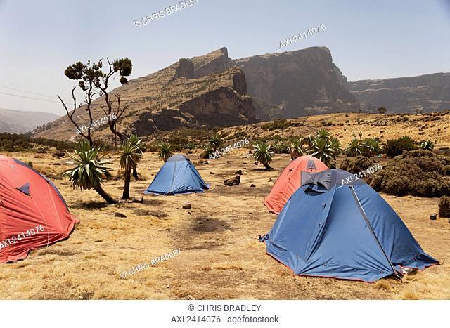 Trekking campsite, Chennak, Simien Mountains National Park; Amhara region, Ethiopia