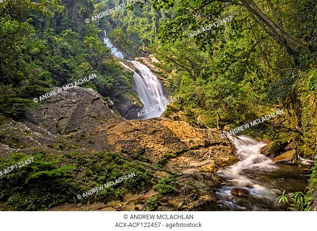 The Tununtunumba Falls on the Tununtunumba River in the foothills of the Andes Mountains within the Cordillera Escalera of the Amazon Rainforest near Chazuta