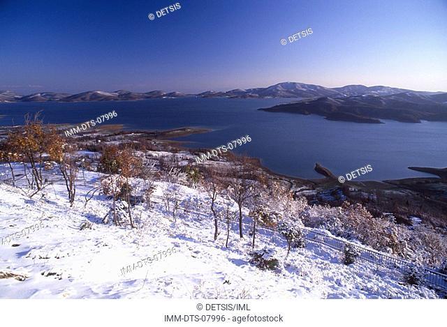 View of lake from Neochori village, Lake Plastira, Thessaly, Greece