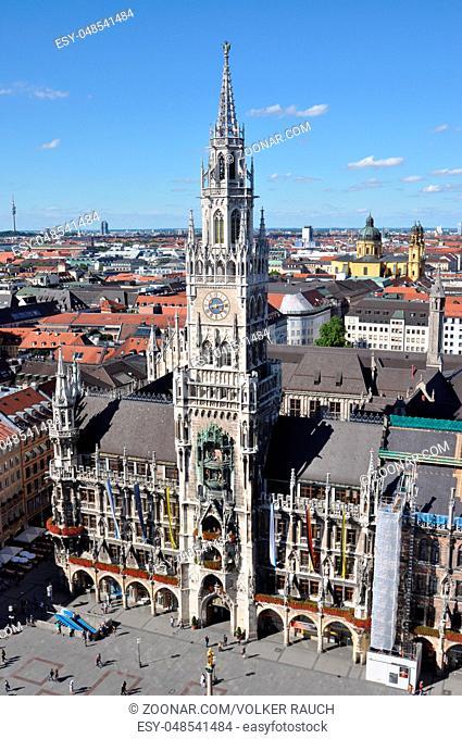 Rathausturm, Rathaus, München, rathaus, turm, gebäude, architektur, bayern, deutschland, uhr, hoch, höhe, neues rathaus, aussicht, panorama