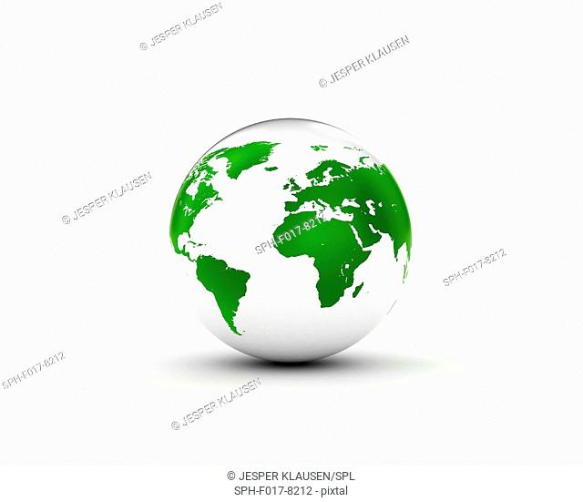 Green and white globe, illustration