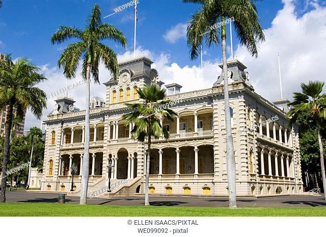 Iolani Palace, the historic royal palace built by King David Kalakaua in 1882 in downtown Honolulu, Hawaii