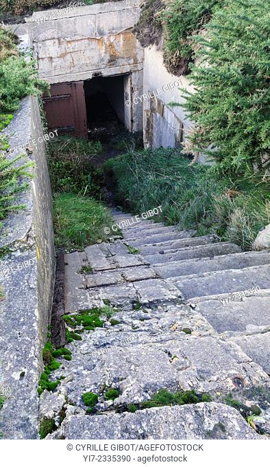 France, Brittany, Finistere, Crozon Peninsula, Pen Hir, entrance to a World War II German bunker