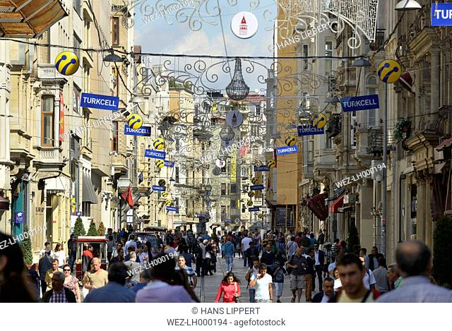 Turkey, Istanbul, View of Istiklal Caddesi road crowd