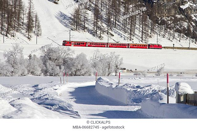 Bernina Express Red Train in the snow of Engadina during winter