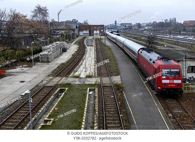Berlin, Germany. Marschalling yard at Warschaer Strasse, where DB-Trains recieve mainenance and are parked between rides and journeys