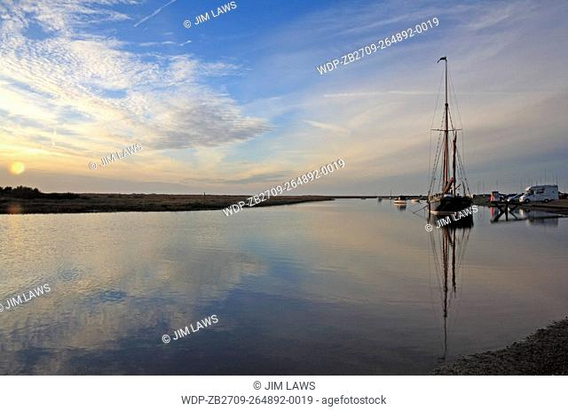 An evening view of the channel at Blakeney, Norfolk, England, United Kingdom