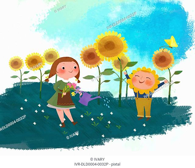 Boy And Girl Planting Plants