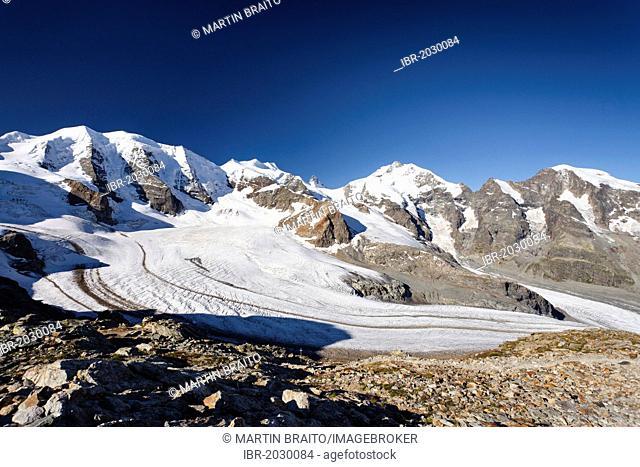 Pers Glacier in front of Piz Palue, Bellavista Mountain, the Piz Bernina Summit with Biancograt Ridge, to the right, Piz Morteratsch summit, Grisons