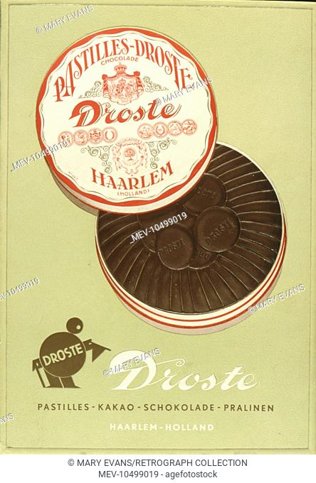 Advertisement for Droste chocolate pastilles, made in Haarlem, Holland