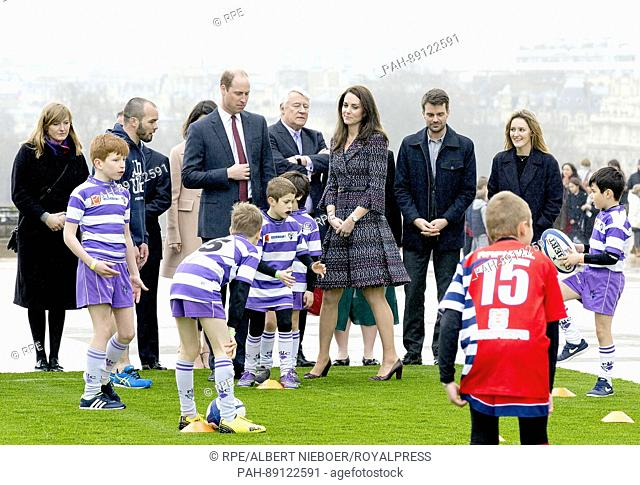 Prince William and Princess Kate, Duke and Duchess of Cambridge at Trocadero, on March 18, 2017, meet local school children and students from the British...