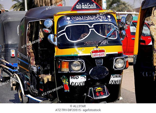 BLACK & YELLOW TUC-TUC; NEAR ASWAN, EGYPT; 11/01/2013