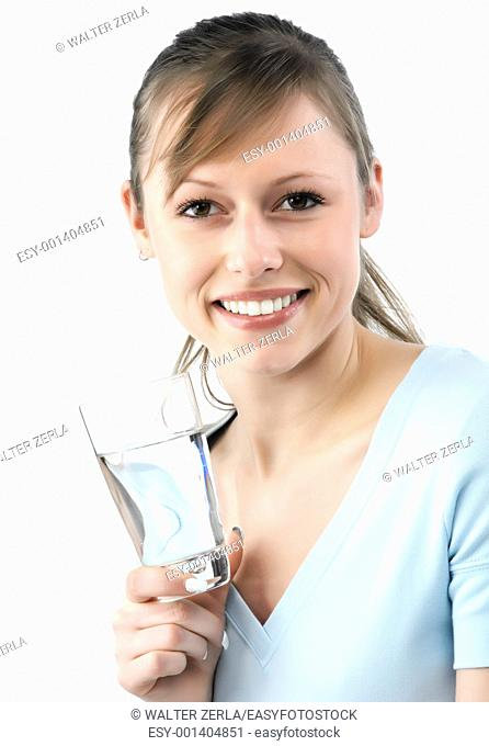Young beautiful woman with glass of water