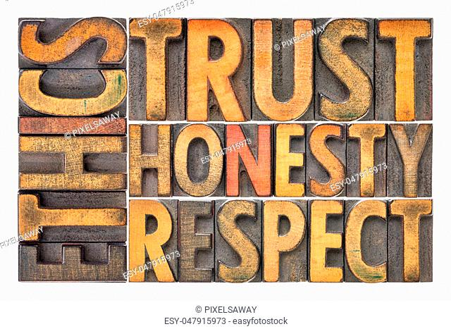 ethics, trust, honesty, respect - isolated word abstract in vintage letterpress wood type blocks stained by color inks