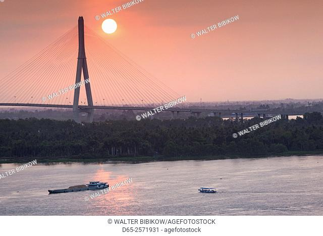 Vietnam, Mekong Delta, Can Tho, Can Tho Bridge, elevated view, sunrise