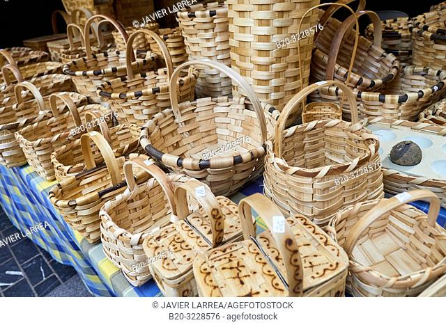 Craft baskets, folklore fair of Santo Tomas, Donostia, San Sebastian, Gipuzkoa, Basque Country, Spain, Europe