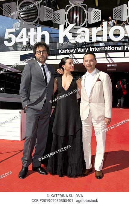 From left: producer Giancarlo Nasi, actress Antonia Giessen and director Felipe Rios arrive to present The Man of the Future film at the 54th Karlovy Vary...
