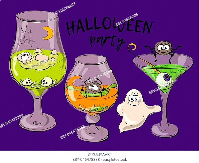 Cocktail for Halloween,Green halloween cocktail, cocktail with eyes. Vector illustration
