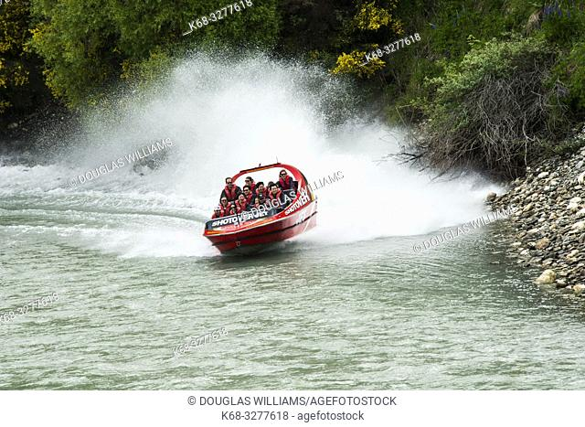 Jet boat on the Shotover River at Arthur's Point, Queenstown, South Island, New Zealand