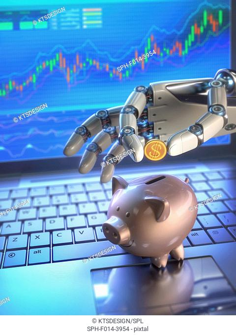 Robotic hand putting coin in piggy bank, illustration