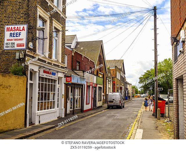 Street view of Sheerness in the Isle of Sheppey - Kent, England