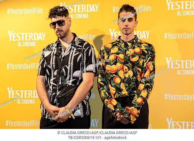 Andrea Molteni art name Axos, Davide Lombardi art name Warez during the photocall of film ' Yesterday ' in Milan, ITALY-20-06-2019