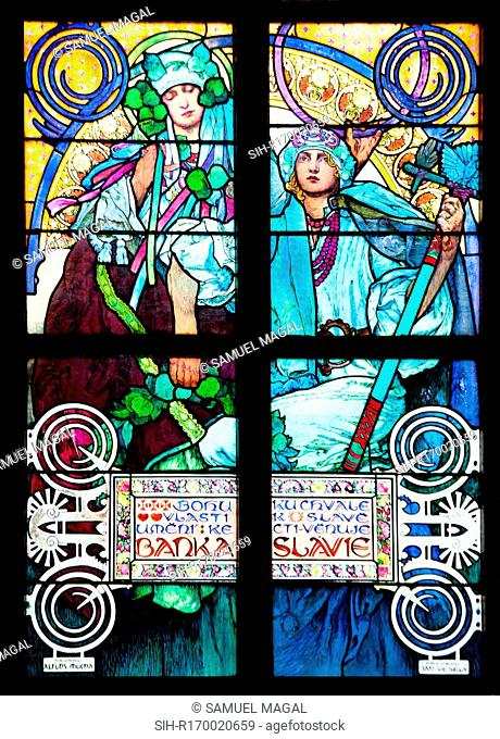 Stained Glass Window, depicting a scene of an allegory of Christ blessing the Slavic nations. Seen is the lower part of the window