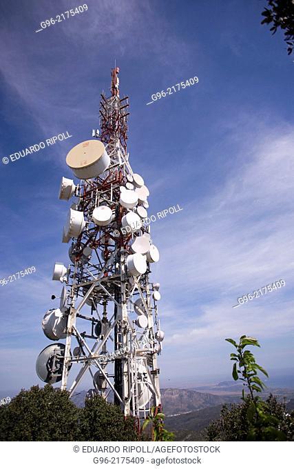 Telecommunication antennas on the peak Monduver, Valencia