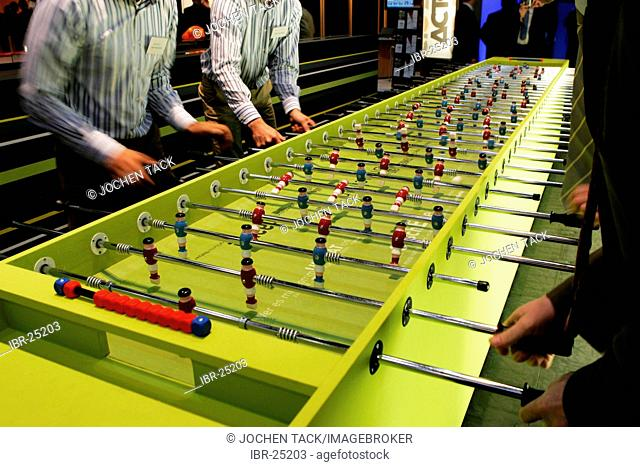 DEU, Germany, Duesseldorf. : Large table football game. Euroshop, tradeshow for shopfitting, store equipment, visual merchandising, Promotion