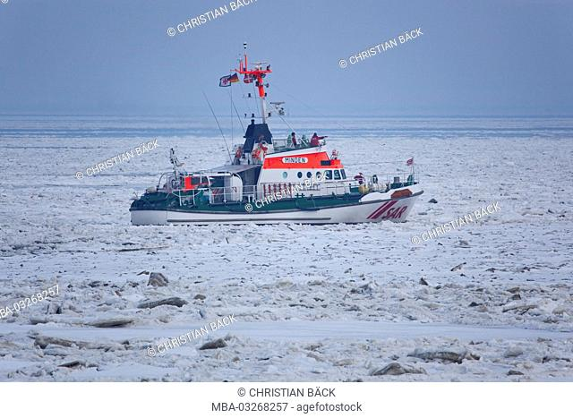 Rescue cruiser in the iced sea, island Sylt, the North Frisians, Schleswig - Holstein, Germany