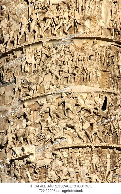 Rome (Italy). Detail of Trajan's column in the Forum of Trajan of the city of Rome